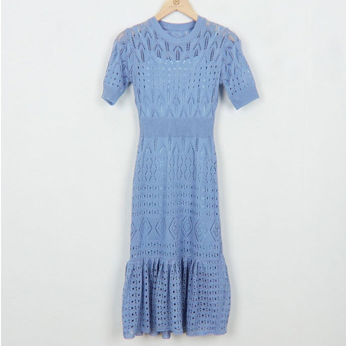 (Pre-Order) Knit Sleeve High Waist Slim Midi Dress in Blue