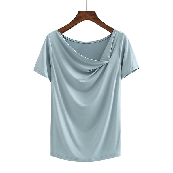 (Pre-Order) Asymmetrical Slanted Neck Top in Blue