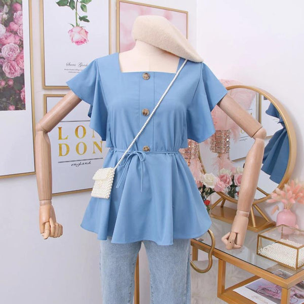 (Pre-Order) Square Ruffles Sleeve Top in Blue