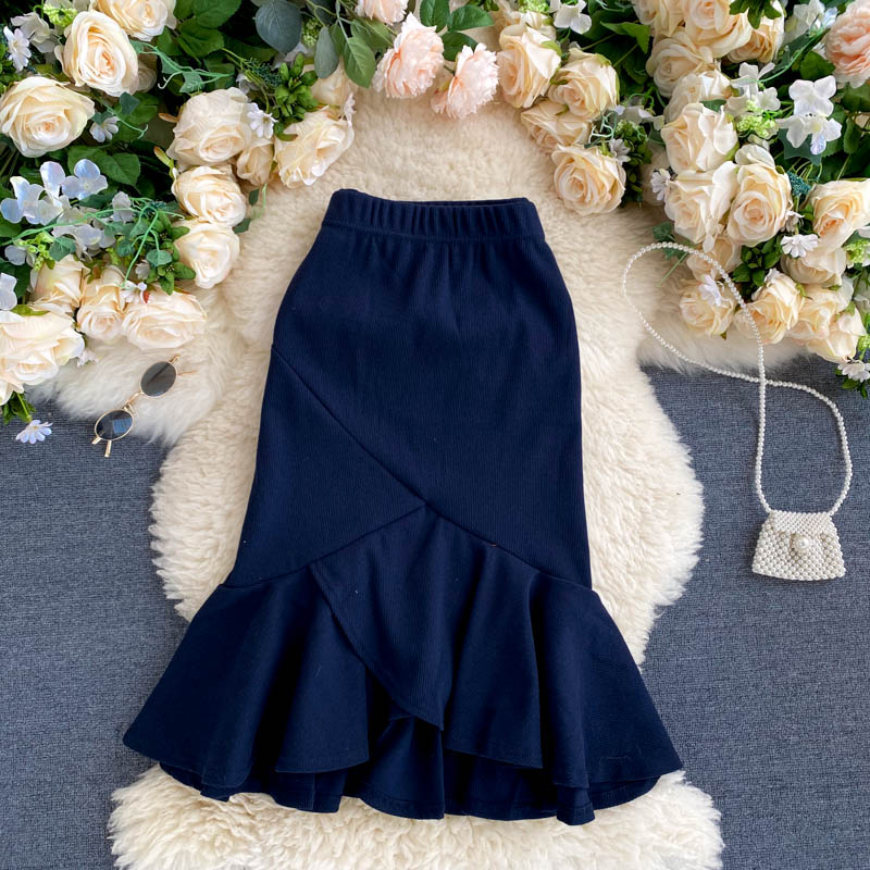 (Pre-Order) A-Line High Waist Asymmetrical Ruffles Skirt in Blue