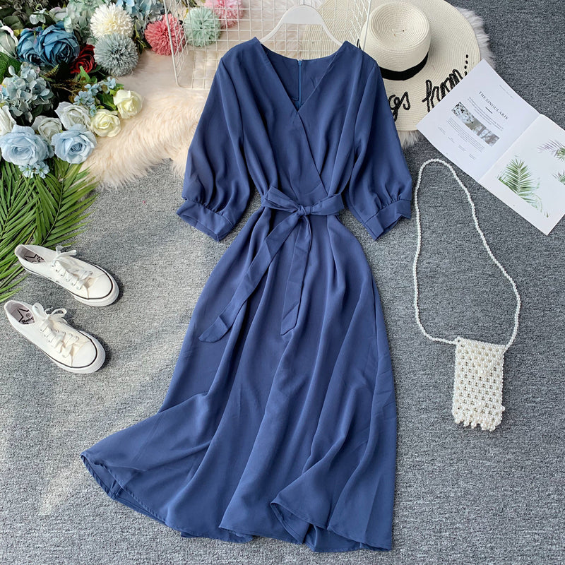 (Pre Order) V Neck Quarter Sleeve Hight Waist Maxi Flare Dress in Blue