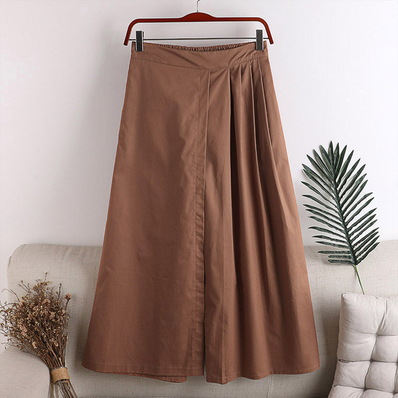 (Pre-Order) Half Pleats High Waist Loose Fit Wide-Leg Culottes in Brown