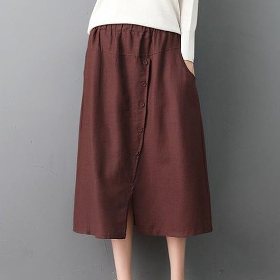 (Pre-Order) Button Up Side Pockets High Waist Loose Fit Midi Skirt In Brown