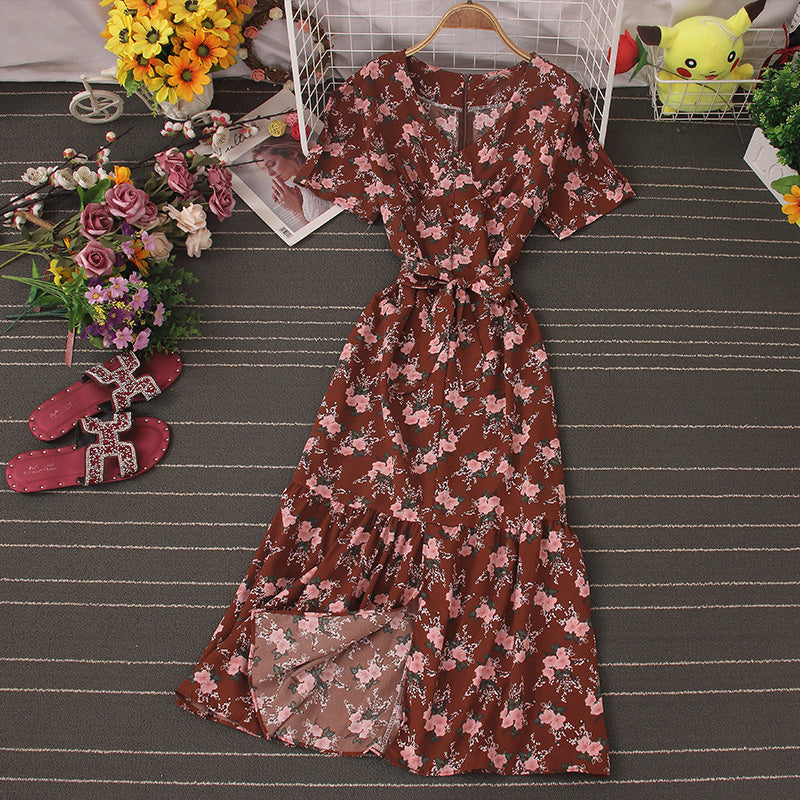 (Pre-Order) Floral V Neck Front Slit Maxi Dress in Brown