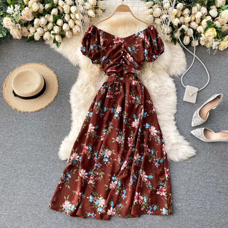 (Pre-Order) Floral Off-Shoulder Gathered Balloon Sleeve Midi Dress in Brown