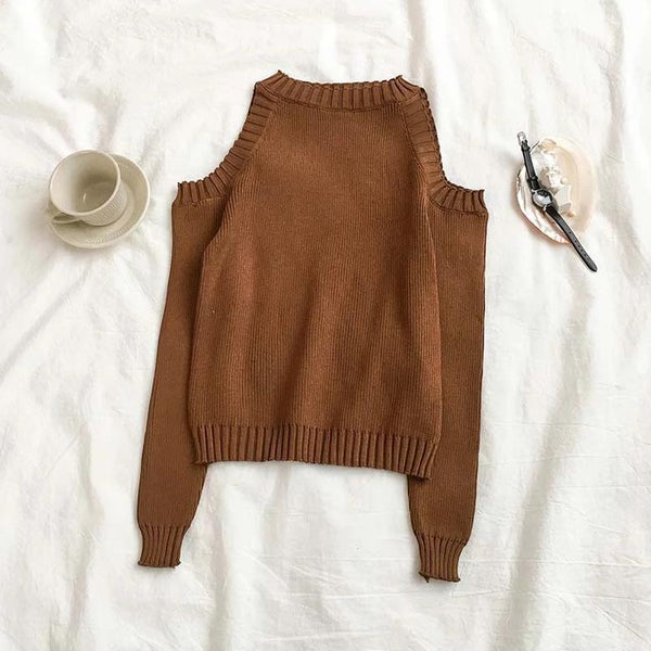 (Pre-Order) Long Sleeve Knit Cold-Shoulder Top in Brown