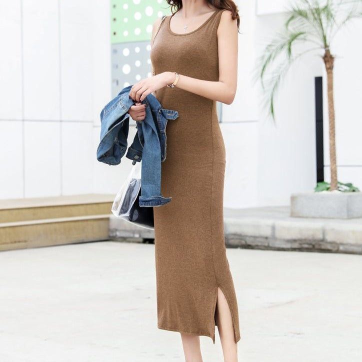 (Pre Order) Side Slit Sleeveless Maxi Bodycon Dress in Brown