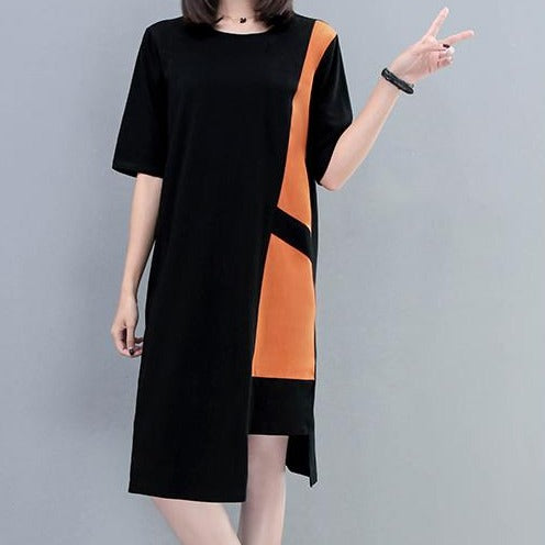 (Pre-Order) Sleeve Asymmetrical Contrast Loose Fit Dress in Caramel