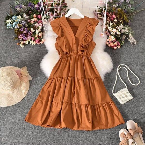 (Pre-Order) V Neck Button-Up Ruffles Sleeve Gypsy Midi Dress in Caramel