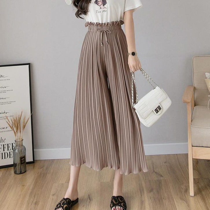 (Pre-Order) Pleated High Waist Loose Fit Wide-Leg Culottes in Coffee