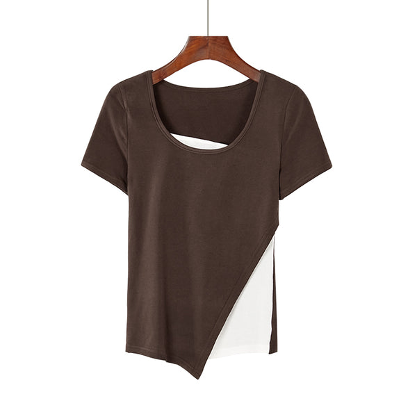 (Pre-Order) Basic Mock 2 Piece Asymmetrical Top in Coffee