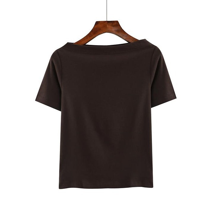 (Pre-Order) Basic Sleeve Off-shoulder Top in Coffee
