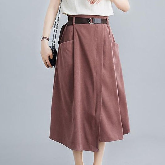 (Pre-Order) High Waist Front Slit Loose Fit Flare Skirt in Copper Red