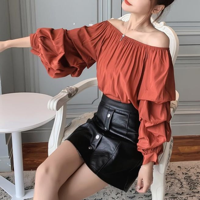 (Pre-Order) Off-Shoulder Balloon Sleeve Top in Copper Red