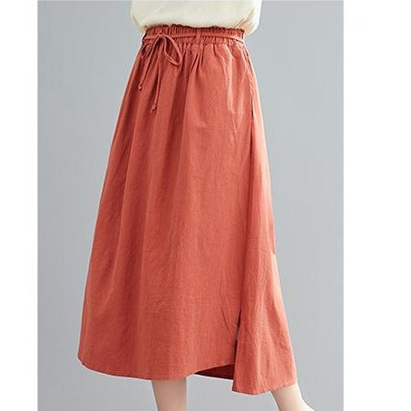(Pre-Order) Asymmetrical Side Slit High Waist Loose Fit Midi Skirt In Copper Red