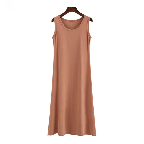 (Pre Order) Round Neck Sleeveless Midi Dress in Copper Red