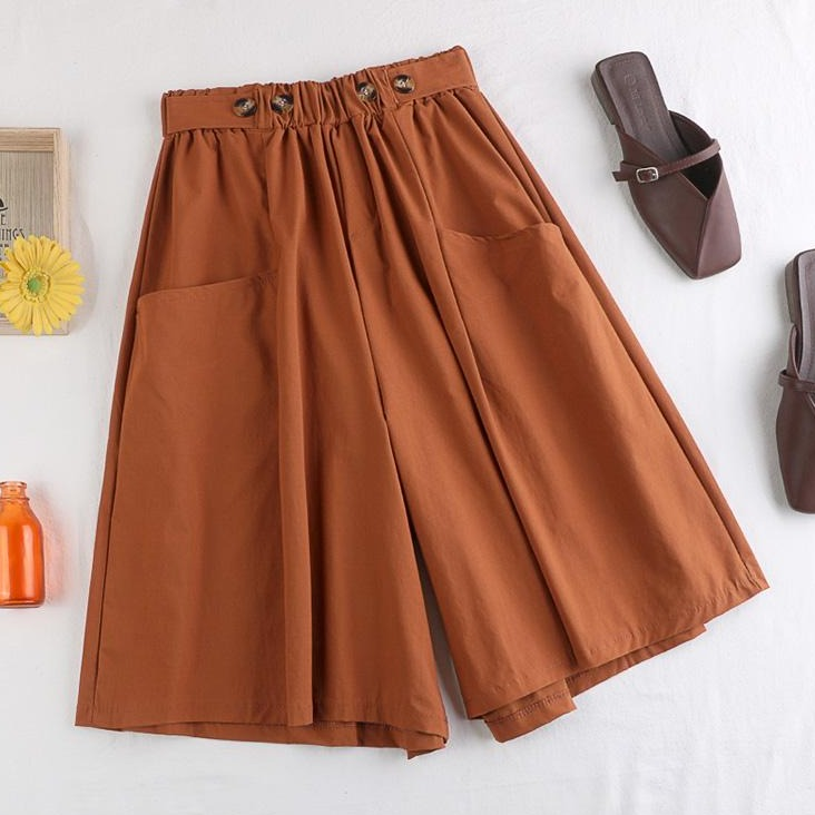 (Pre-Order) Front Pockets Wide Leg Loose Fit Pants in Copper Red