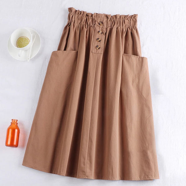 (Pre-Order) Sides Large Pockets High Waist Midi Skirt In Copper Red