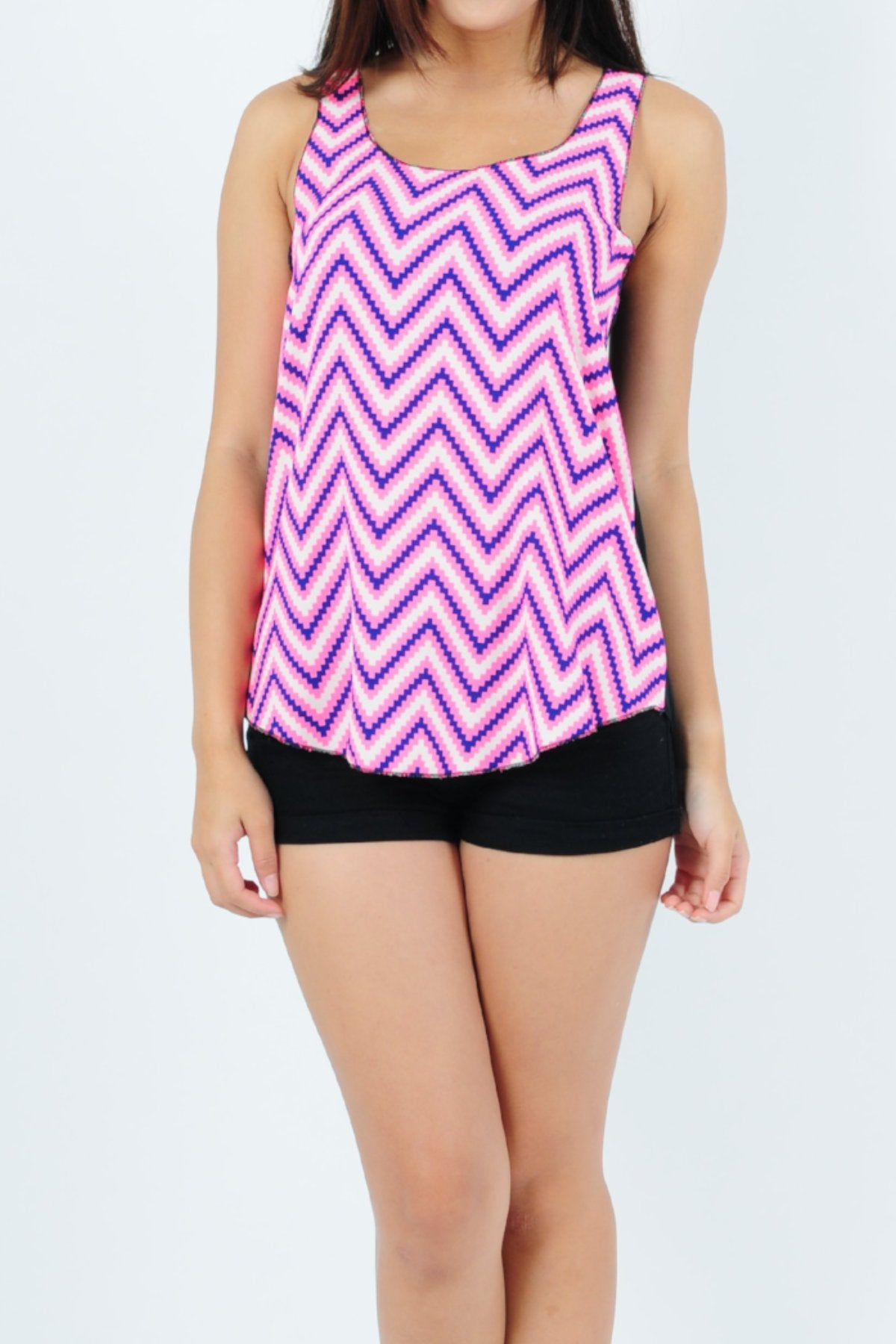 Basic Tank Top Trio ZigZag in White