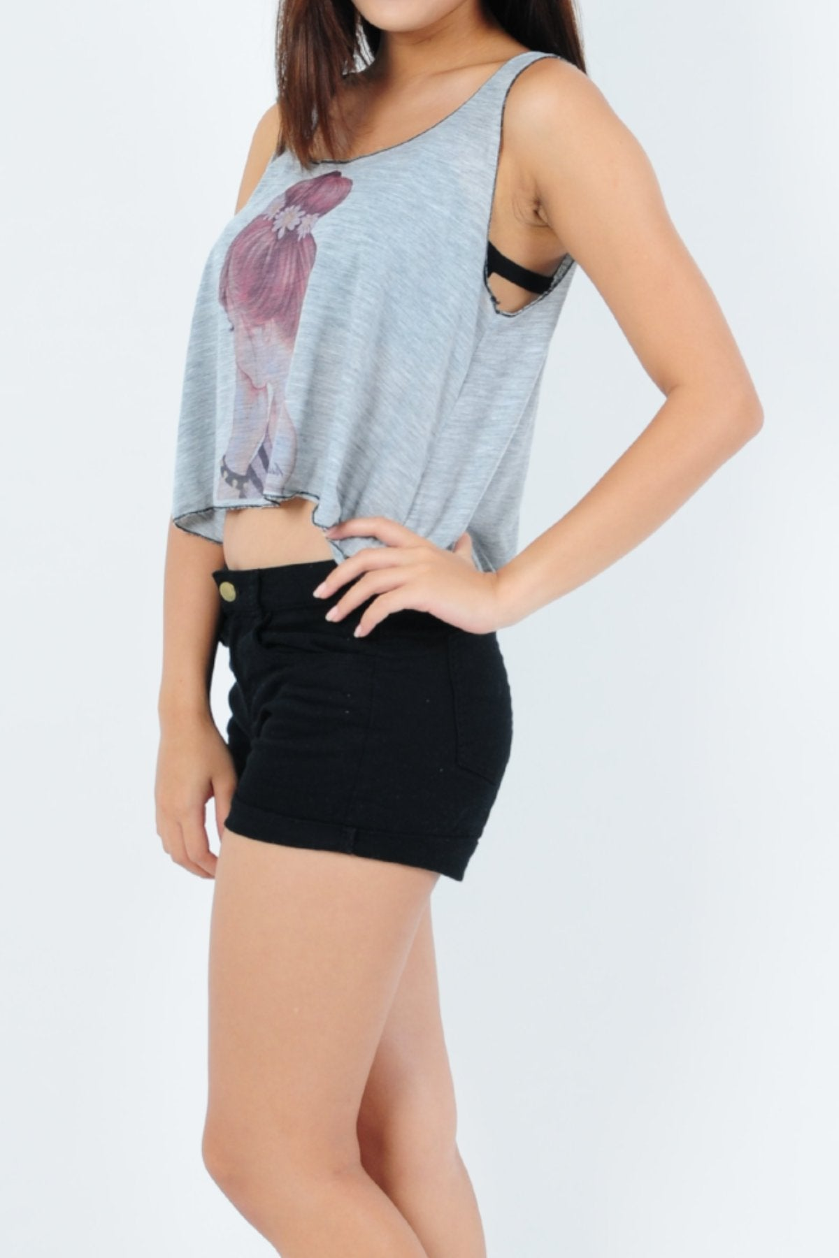 Basic Cotton Cropped Tank Top Girl in Grey