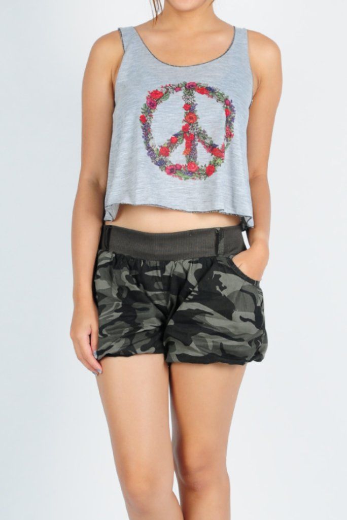 Basic Cotton Cropped Tank Top Peace in Grey