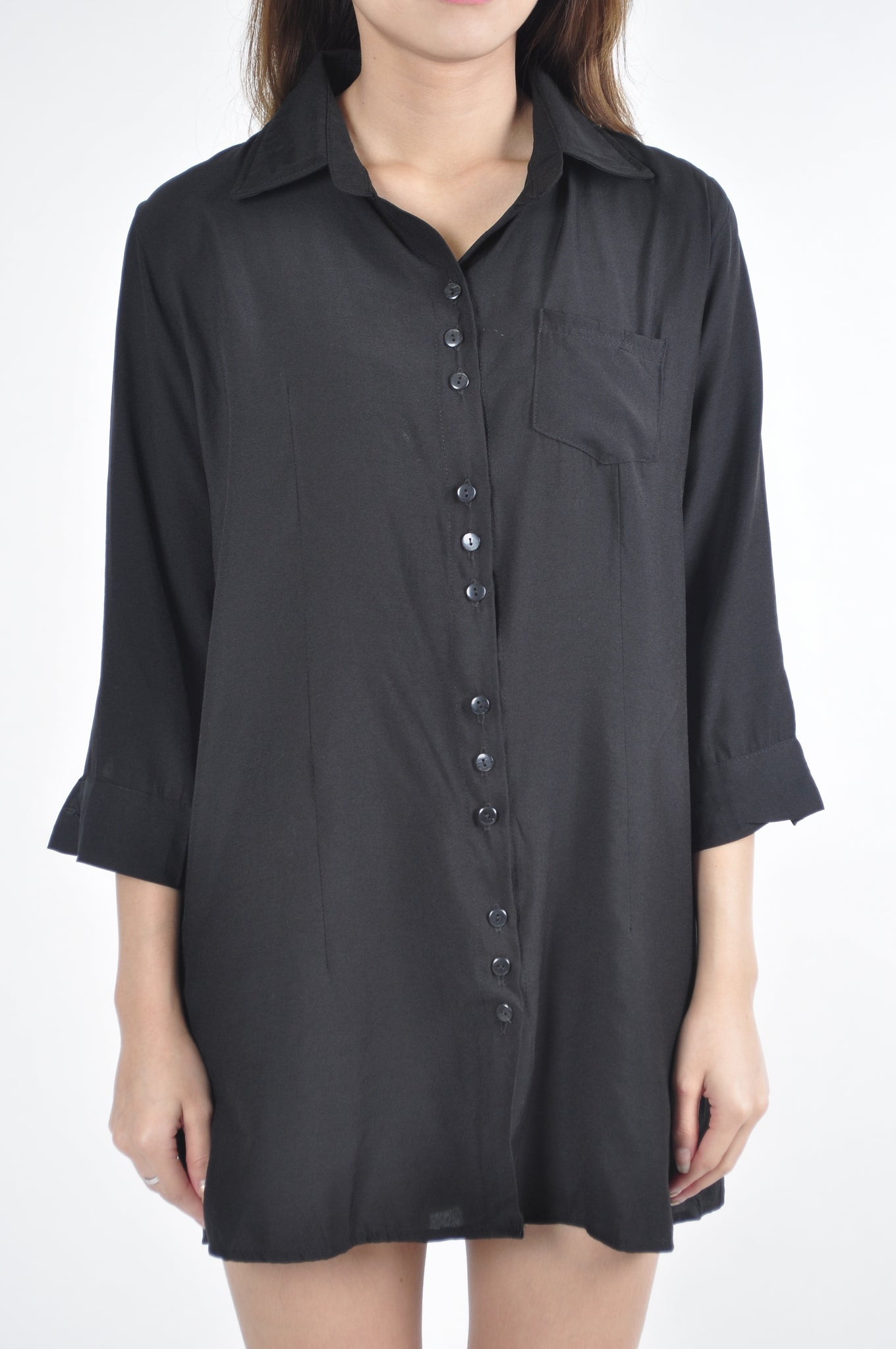 Trio Button Pocket Collared Quarter Sleeve Shirt Dress in Black