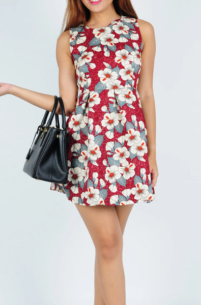 Sleeveless Floral Dress in Red