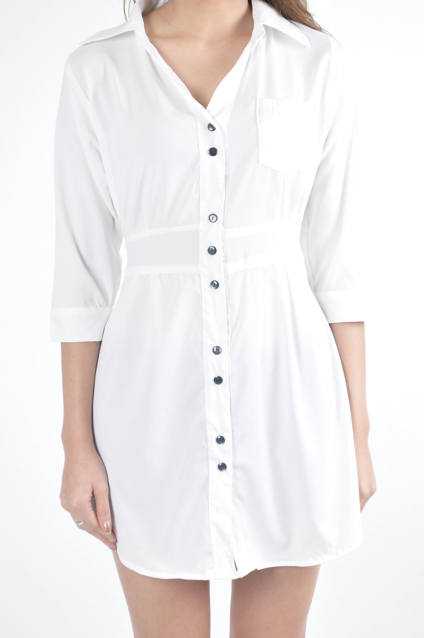 Back Waist Tie Pocket Quarter Sleeve Shirt Dress in White
