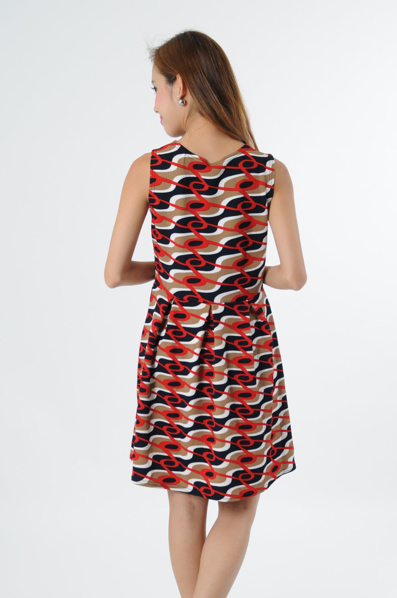 Retro Skater Dress in Brown-Navy