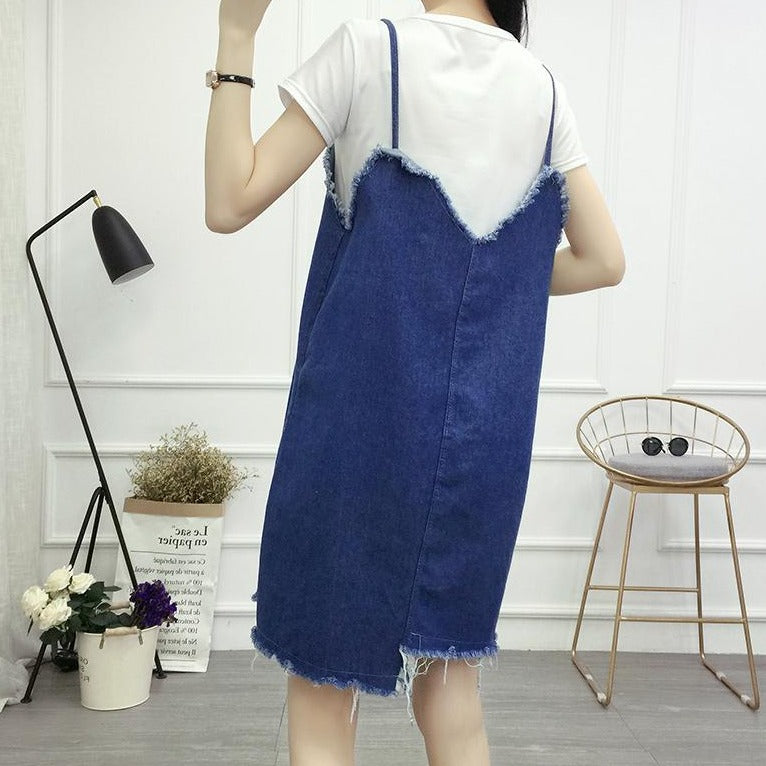 (Pre-Order) Asymmetrical V Denim Spag Pinafore in Dark Blue