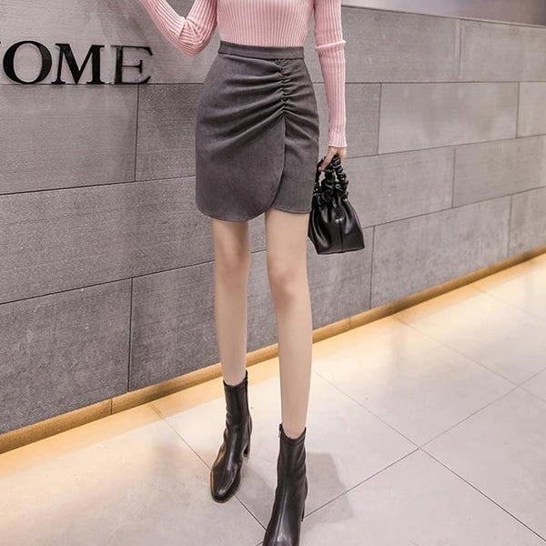 (Pre-Order) Side Gathered High Waist Skirt In Dark Grey