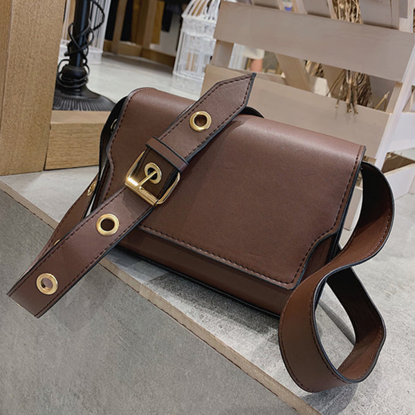 (Pre-Order) Retro Thick Eyelet Crossbody Bag in Dark Brown