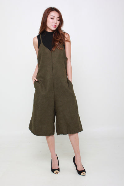 Suede Cropped Jumpsuit in Military Green