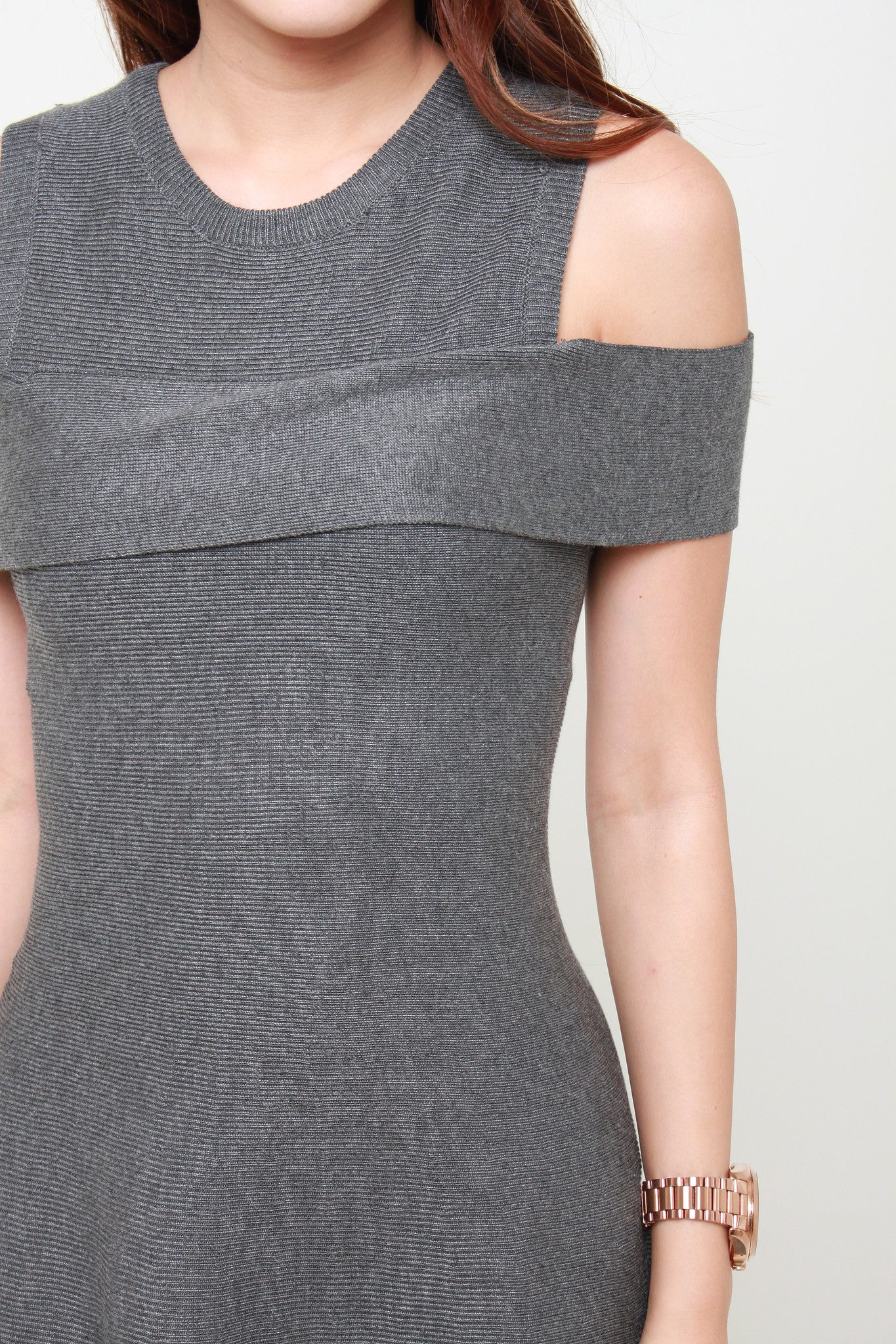 Knit Cold Shoulder Skater Dress in Dark Grey