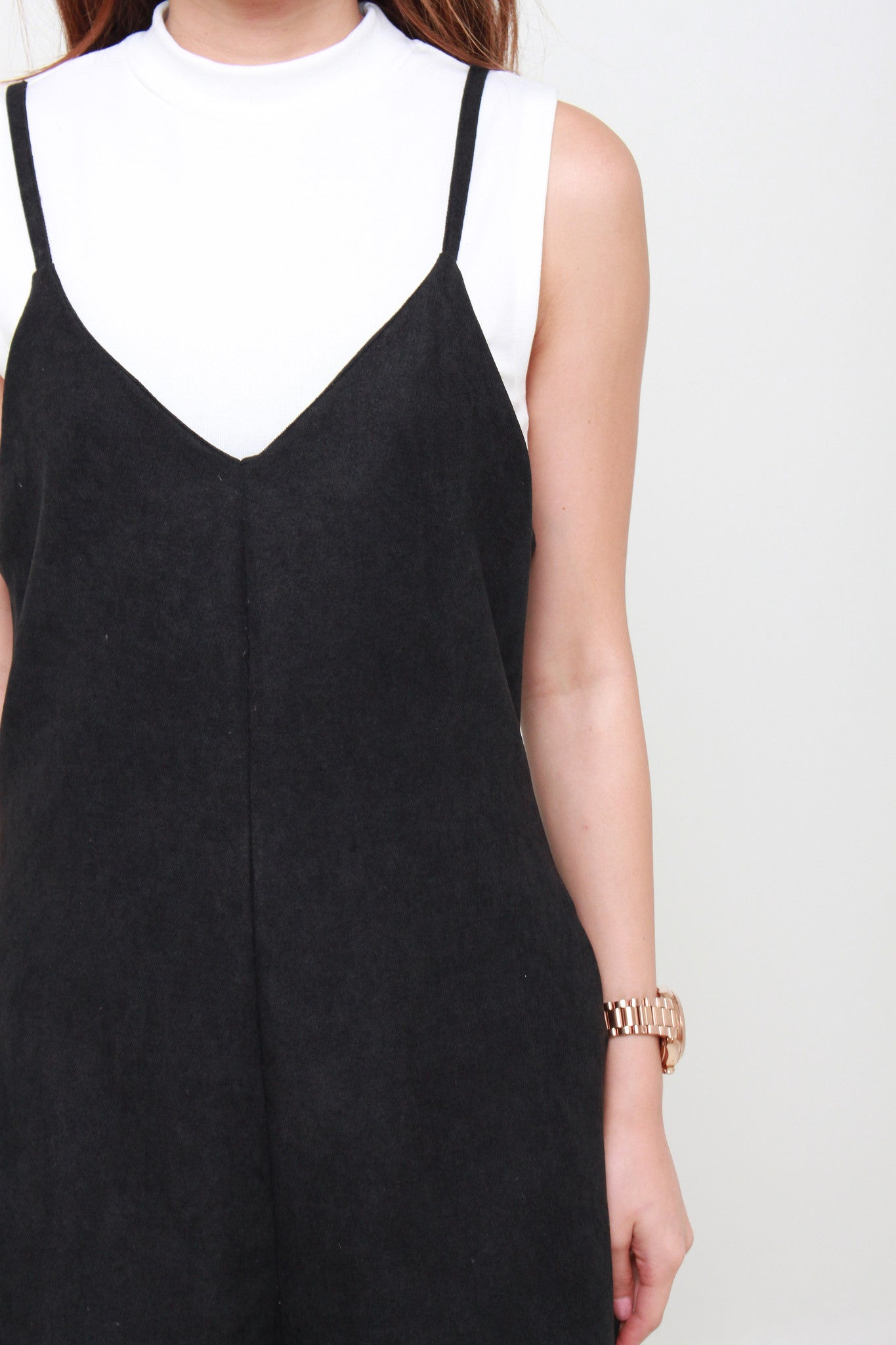 Suede Cropped Jumpsuit in Black