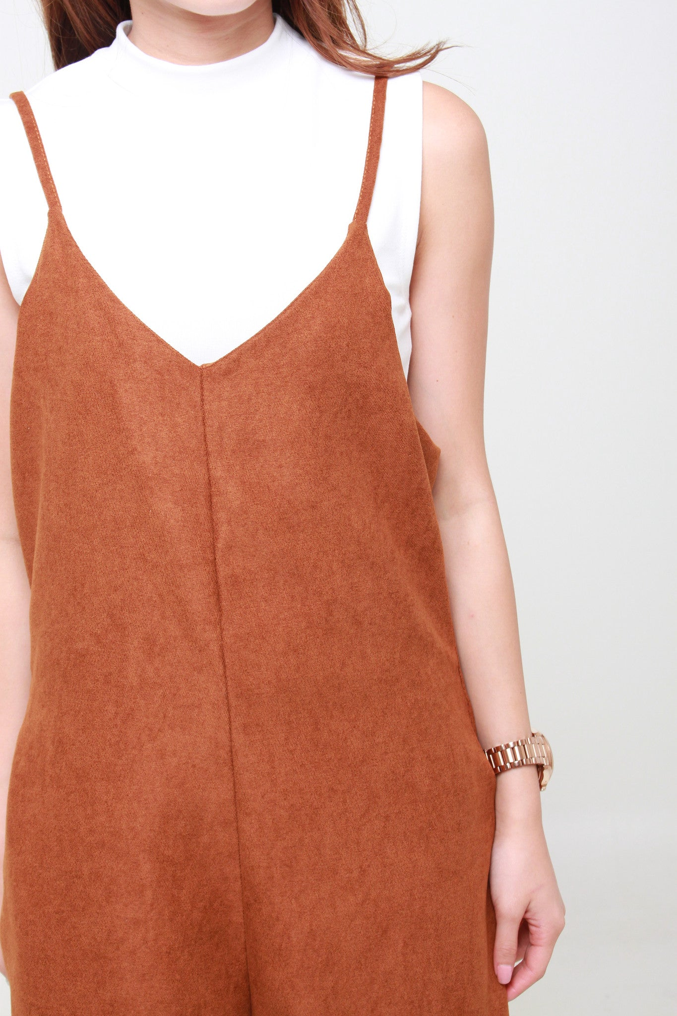Suede Cropped Jumpsuit in Camel