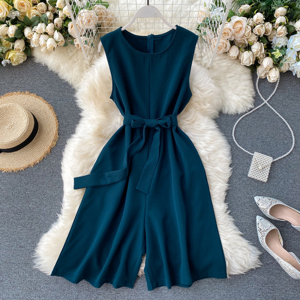 (Pre-Order) Sleeveless Ribbon Tie Wide Leg Romper in Forest Green