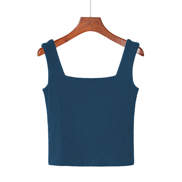 (Pre-Order) Basic Square Neck Sleeveless Cropped Top in Forest Green
