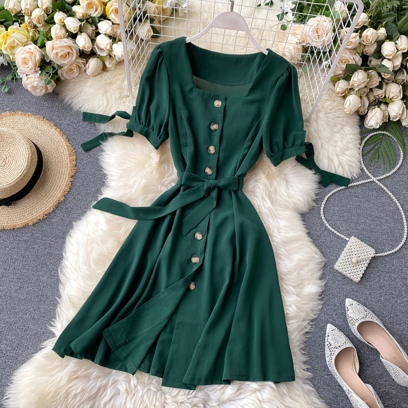 (Pre-Order) Ribbon Tie Square Neck Button Up Balloon Sleeve Dress in Forest Green