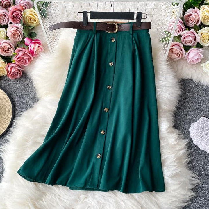 (Pre-Order) High Waist Buttons A-Line Midi Skirt in Forest Green