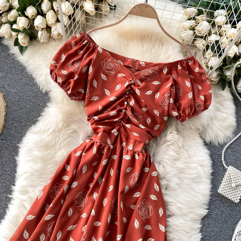 (Pre-Order) Floral Off-Shoulder Gathered Balloon Sleeve Midi Dress in Mandarin