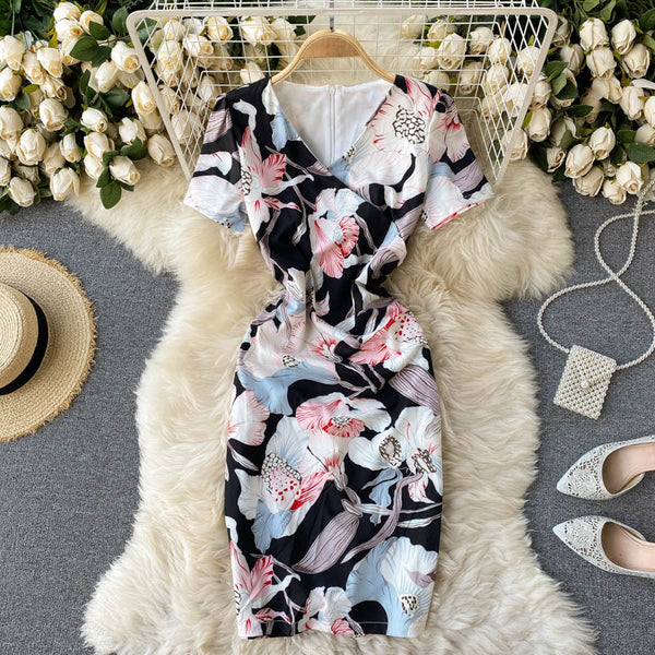 (Pre-Order) Floral Overlap V-Neck Bodycon Dress in Black