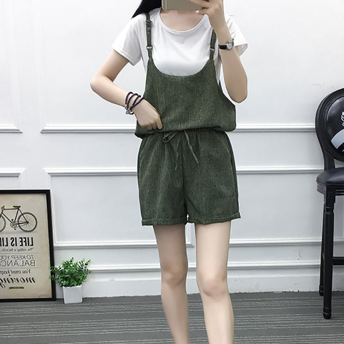 (Pre-Order) 2 Piece Wide Leg High Waist Tie Romper in Green