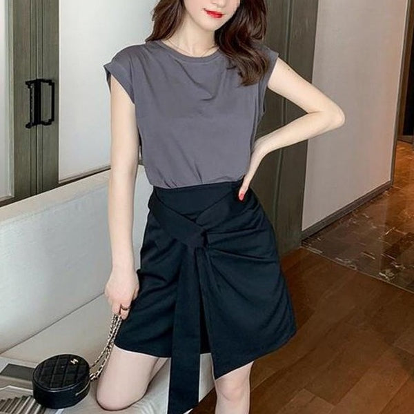 (Pre-Order) 2 Piece Back Cut-Out Drop Shoulder Top And Loop Skirt in Grey