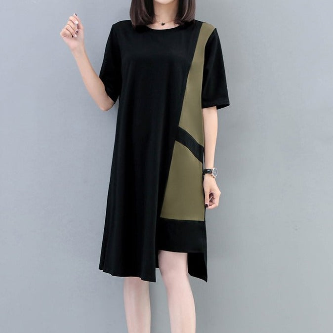 (Pre-Order) Sleeve Asymmetrical Contrast Loose Fit Dress in Military Green