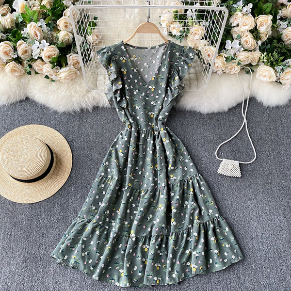 (Pre-Order) Floral V Neck Ruffles Sleeve Gypsy Midi Dress in Green