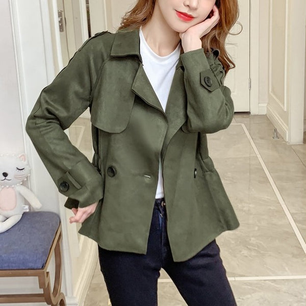 (Pre-Order) Korean Style Minimalist Long Sleeve Loose Fit Cropped Jacket in Military Green