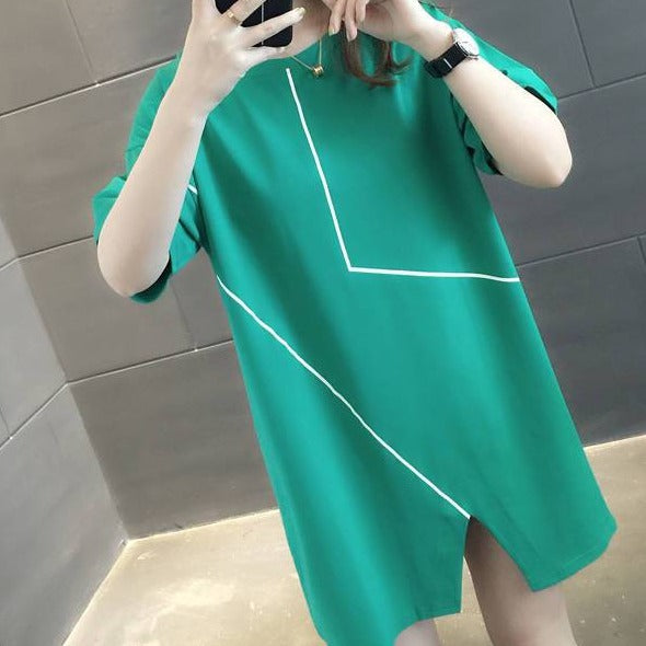 (Pre-Order) Contrast Hem Cut-Out Sleeve Oversized Loose Fit Top in Green