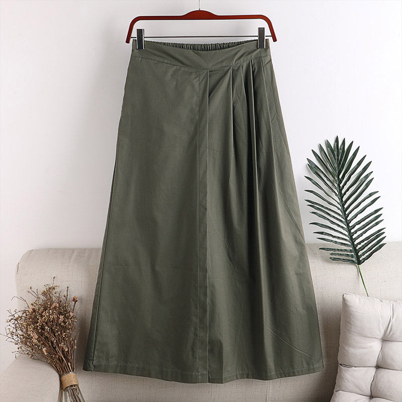 (Pre-Order) Half Pleats High Waist Loose Fit Wide-Leg Culottes in Green