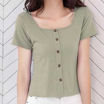 (Pre-Order) Button Up Short Sleeve Square Neck Top in Green